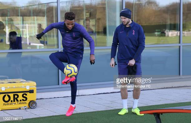 Gedson Fernandes and Eric Dier of Tottenham Hotspur during the Tottenham Hotspur training session at Tottenham Hotspur Training Centre on January 29...