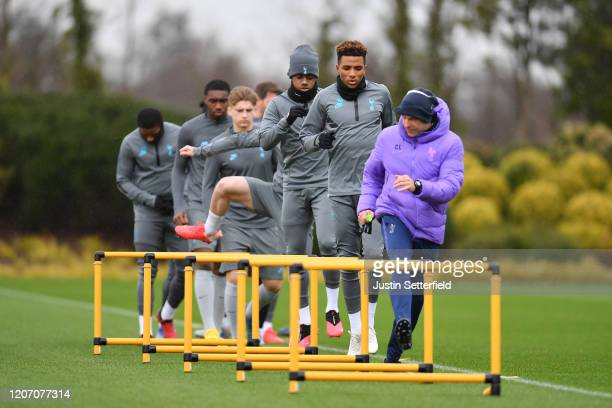 Gedson Fernandes and Ryan Sessegnon of Tottenham Hotspur participate in a training session ahead of their UEFA Champions League Round of 16 first leg...