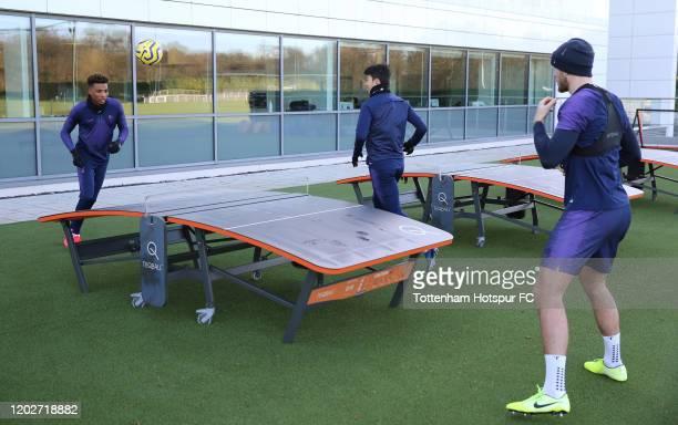 Gedson Fernandes HeungMin Son and Eric Dier of Tottenham Hotspur during the Tottenham Hotspur training session at Tottenham Hotspur Training Centre...
