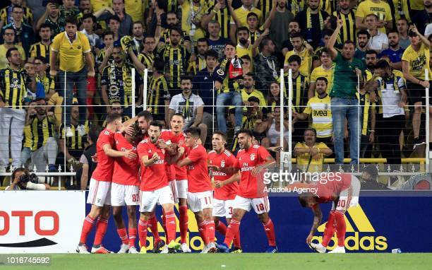 Gedson Fernandes of Benfica celebrates his goal with his teammates during UEFA Champions League third qualifying round's second leg match between...