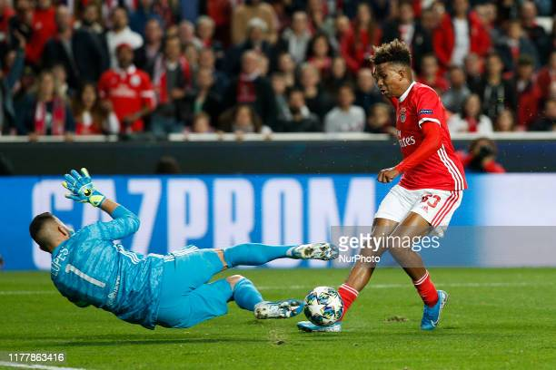 Gedson Fernandes of Benfica vies for the ball with Anthony Lopes of Lyon during UEFA Champions League Group G football match SL Benfica against...