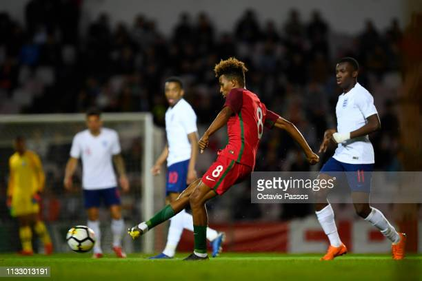 Gedson Fernandes of Portugal in action during the International Friendly match between Portugal U20 and England U20 at Stadium Municipal 25 April on...