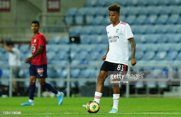 Gedson Fernandes of SL Benfica in action during the Pre-Season Friendly match between SL Benfica and Lille at Estadio Algarve on July 22, 2021 in...