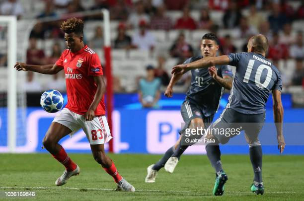 Gedson Fernandes of SL Benfica in action during the UEFA Champions League Group E match between SL Benfica and FC Bayern Munchen at Estadio da Luz on...