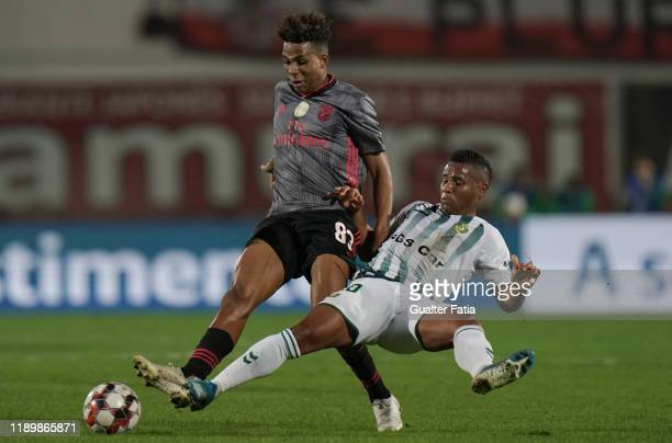 Gedson Fernandes of SL Benfica with Eber Bessa of Vitoria FC in action during the Allianz Cup match between Vitoria FC and SL Benfica at Estadio do...