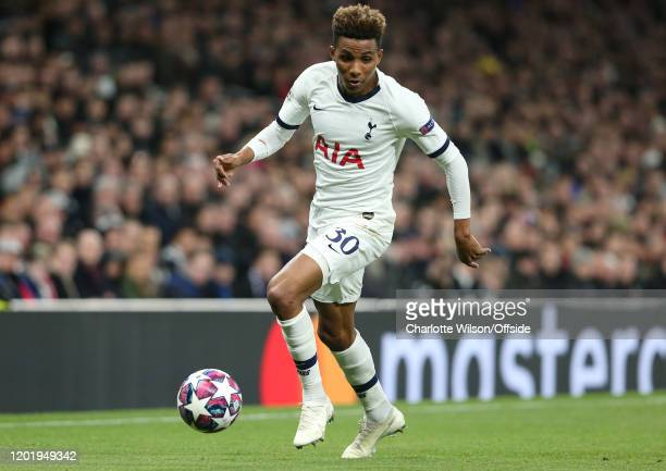 Gedson Fernandes of Tottenham during the UEFA Champions League round of 16 first leg match between Tottenham Hotspur and RB Leipzig at Tottenham...
