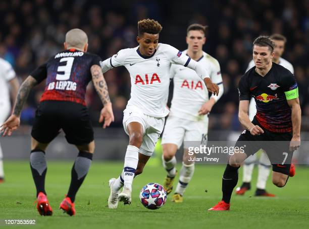 Gedson Fernandes of Tottenham Hotspur and Marcel Sabitzer of RB Leipzig during the UEFA Champions League round of 16 first leg match between...