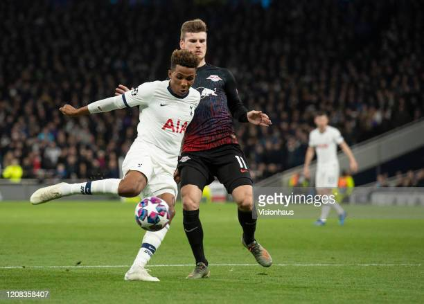 Gedson Fernandes of Tottenham Hotspur and Timo Werner of RB Leipzig during the UEFA Champions League round of 16 first leg match between Tottenham...