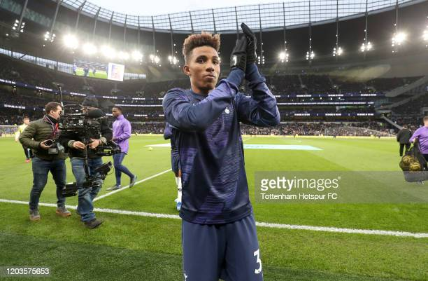 Gedson Fernandes of Tottenham Hotspur applauds the fans prior to the Premier League match between Tottenham Hotspur and Manchester City at Tottenham...