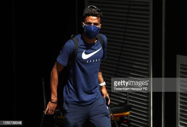 Gedson Fernandes of Tottenham Hotspur arrives at the stadium ahead of the Premier League match between Tottenham Hotspur and Arsenal FC at Tottenham...