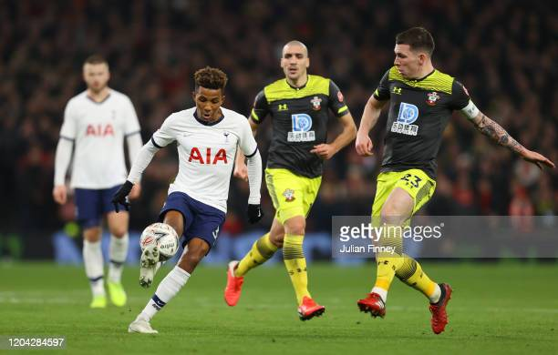 Gedson Fernandes of Tottenham Hotspur controls the ball under pressure from PierreEmile Hojbjerg of Southampton during the FA Cup Fourth Round Replay...