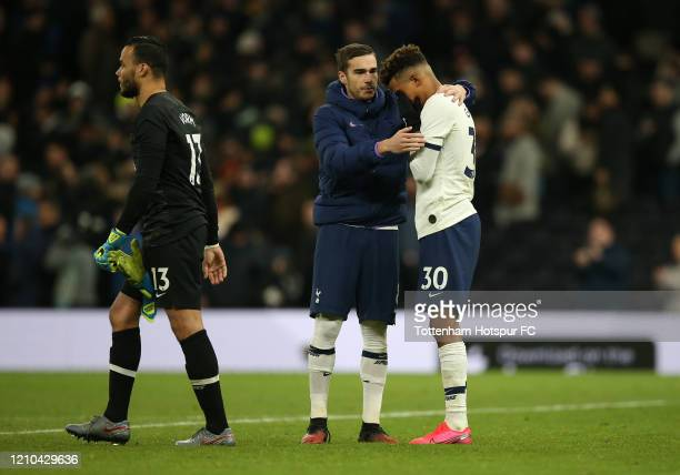 Gedson Fernandes of Tottenham Hotspur is consoled by teammate Harry Winks after missing a penalty in the FA Cup Fifth Round match between Tottenham...