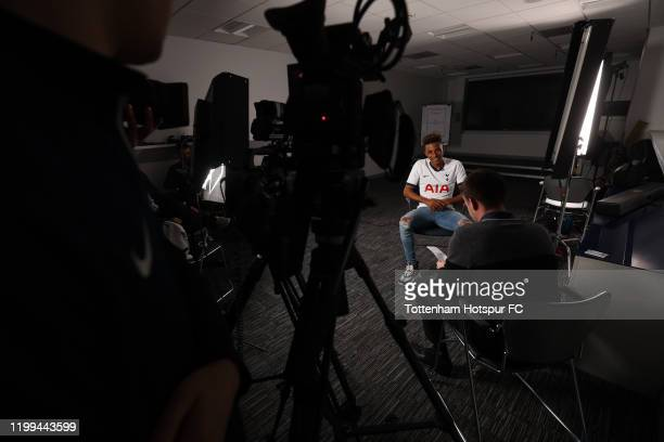 Gedson Fernandes of Tottenham Hotspur is interviewed on January 14 2020 at the Tottenham Hotspur training ground in Enfield England