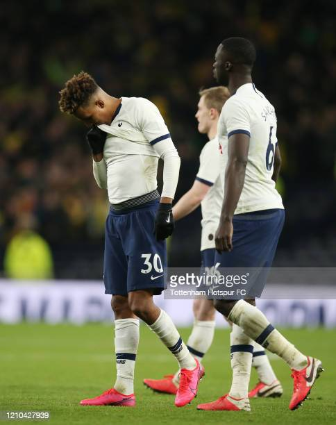 Gedson Fernandes of Tottenham Hotspur looks dejected after failing to score a penalty in the penalty shootout during the FA Cup Fifth Round match...