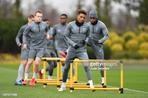 Gedson Fernandes of Tottenham Hotspur participates in a training session ahead of their UEFA Champions League Round of 16 first leg match against RB...