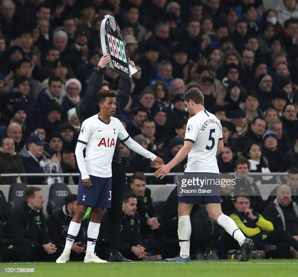 Gedson Fernandes of Tottenham Hotspur replaces Jan Vertonghen of Tottenham Hotspur during the Premier League match between Tottenham Hotspur and...