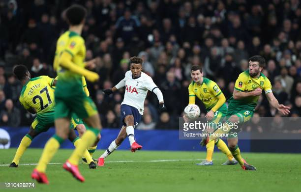 Gedson Fernandes of Tottenham Hotspur shoots over during the FA Cup Fifth Round match between Tottenham Hotspur and Norwich City at Tottenham Hotspur...