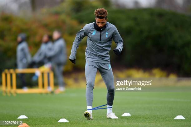 Gedson Fernandes of Tottenham Hotspur warms up during a training session ahead of their UEFA Champions League Round of 16 first leg match against RB...