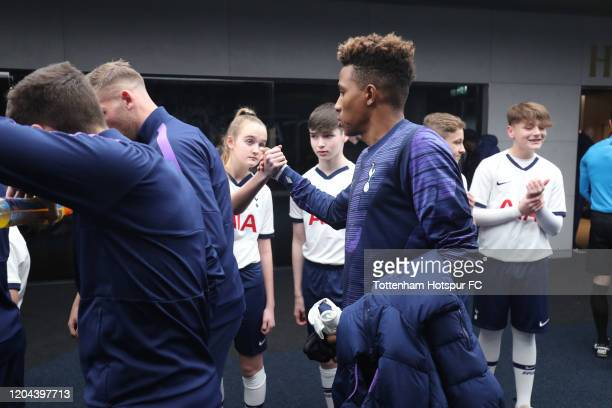 Gedson Fernandes of Tottenham Hotspur with mascots in the tunnel prior to the FA Cup Fourth Round Replay match between Tottenham Hotspur and...