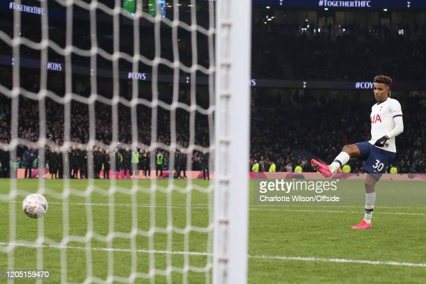 Gedson Fernandes of Tottenham misses a penalty with a soft hit sending Tottenham out of the FA Cup during the FA Cup Fifth Round match between...