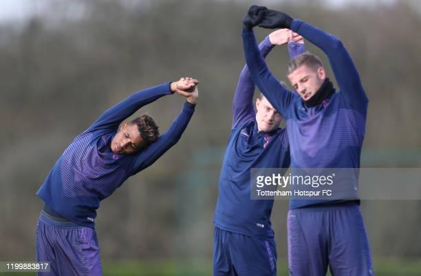 Gedson Fernandes, Oliver Skipp and Toby Alderweireld of Tottenham Hotspur during the Tottenham Hotspur training session at Tottenham Hotspur Training...