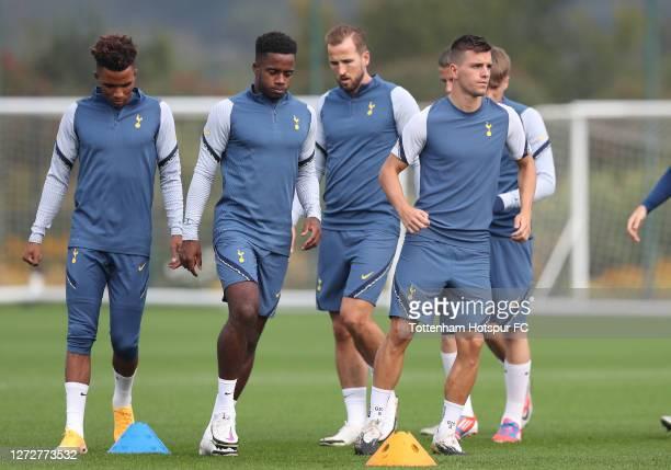 Gedson Fernandes Ryan Sessegnon Harry Kane and Ryan Sessegnon of Tottenham Hotspur during the Tottenham Hotspur training session at Tottenham Hotspur...