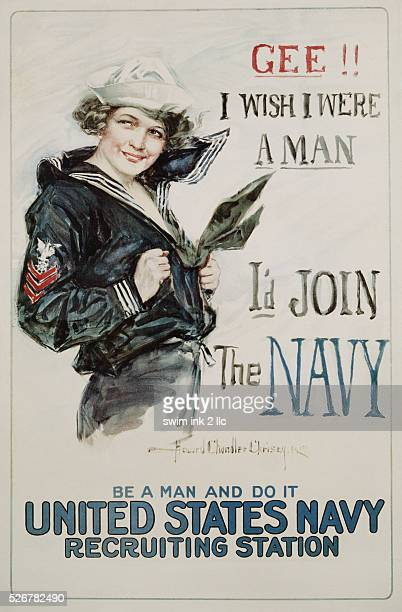 Gee I Wish I Were a Man I'd Join the Navy Recruitment Poster by Howard Chandler Christy