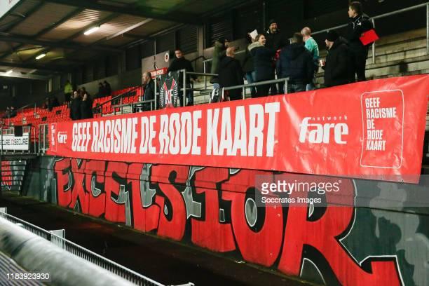 Geef Racisme de Rode Kaart during the Dutch Keuken Kampioen Divisie match between Excelsior v FC Volendam at the Van Donge & De Roo Stadium on...