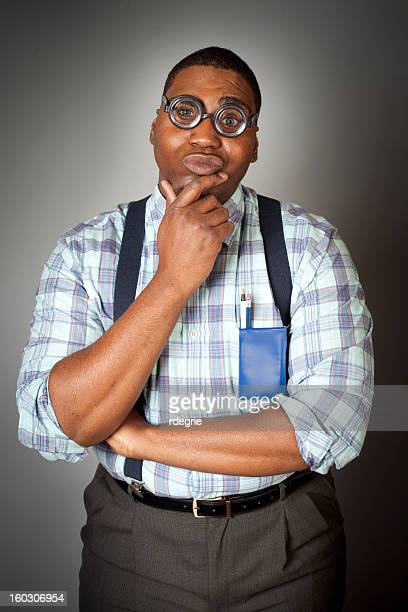 geek thinking hard - suspenders stock pictures, royalty-free photos & images