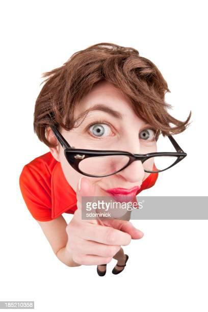 Geeky Fisheye Woman Pointing Finger