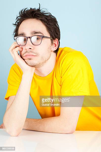 Geeky person with colorful shirt
