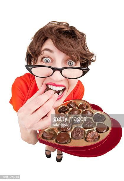 Geeky Woman Eating Chocolates