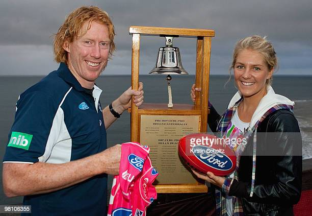 Geelong Cats captain Cameron Ling of and Stephanie Gilmore of Australia on March 30, 2010 in Bells Beach, Australia.
