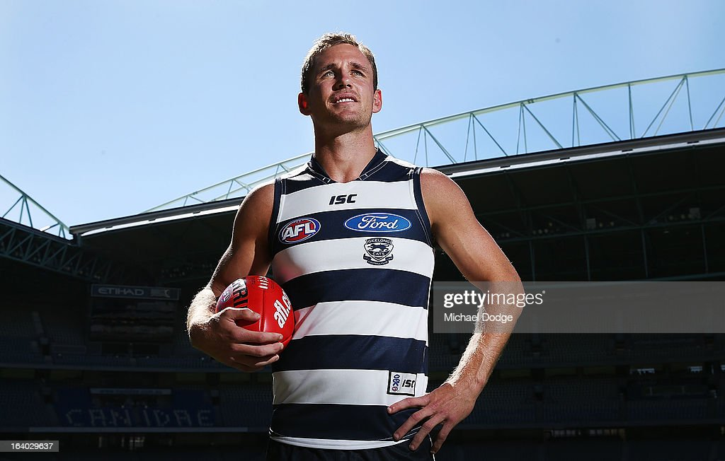 Geelong Cats captain Joel Selwood poses during the AFL Captains media Day at Etihad Stadium on March 19, 2013 in Melbourne, Australia.