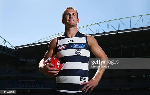 Geelong Cats captain Joel Selwood poses during the AFL Captains media Day at Etihad Stadium on March 19 2013 in Melbourne Australia