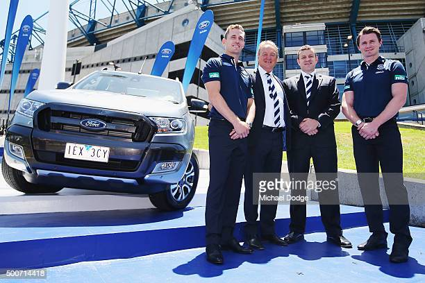 Geelong Cats Captain Joel Selwood poses with CEO Brian Cook Ford Australia President and CEO Graeme Whickman and new recruit Patrick Dangerfield...