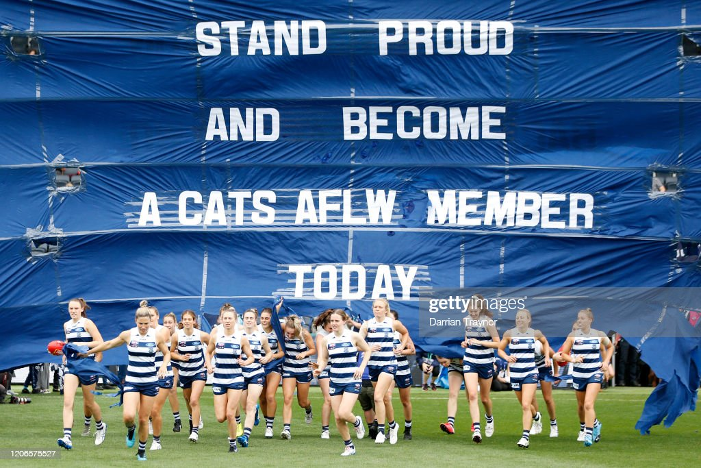 Geelong Cats Players Run Through The Banner Before The Round 2 Aflw News Photo Getty Images