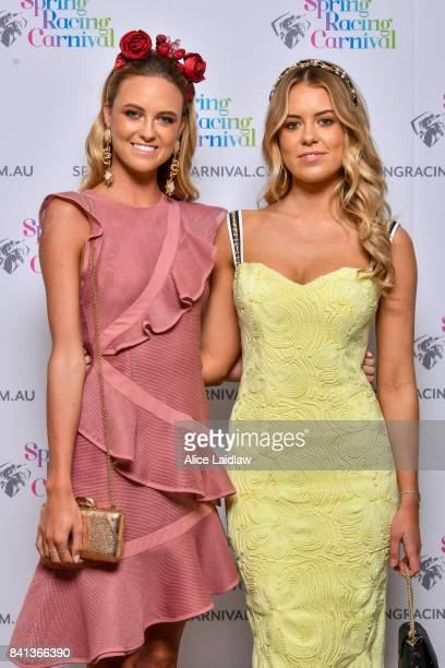 Geelong Cup ambassadors Ruby and Lucy Brownless at the Spring Racing Carnival Launch at Greenfields on September 01 2017 in Albert Park Australia