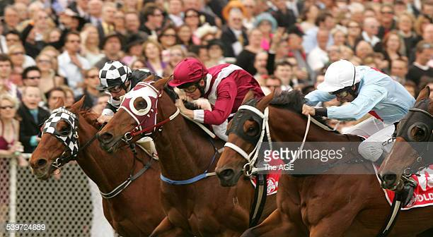 Geelong Cup Race 8 The Geelong Cup won by On A Jeune ridden by Kerrin McEvoy purple cap and purple blinkers on horse Wednesday 19 October 2005 THE...
