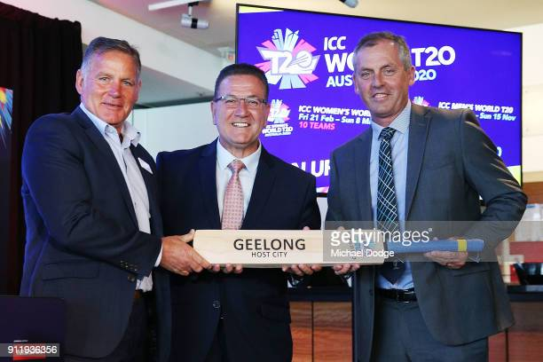 Geelong Deputy Mayor Peter Murrihy and Minister John Eren with accept a cricket bat from Tony Dodemaide of Cricket Victoria during the ICC World T20...