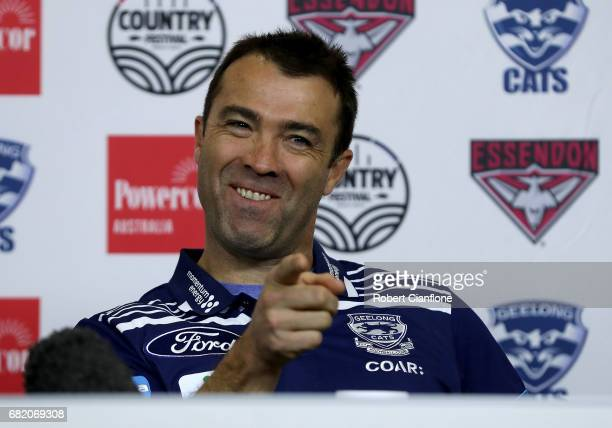 Geelong Senior Coach Chris Scott speaks to the media during an AFL press conference at AFL House on May 12 2017 in Melbourne Australia