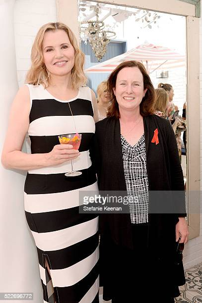 Geena Davis and Cheryl Bauerle attend Glamour's Game Changers Lunch hosted by EditorinChief Cindi Leive Zendaya at AU FUDGE on April 20 2016 in West...