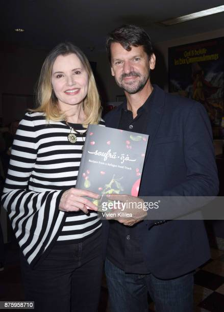 Geena Davis and director Thomas Morgan attend the book launch and film premiere of 'Soufra' at Laemmle's Music Hall 3 on November 17 2017 in Beverly...