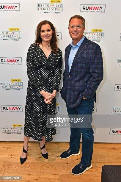 Geena Davis and Doug McMillon attend the 2021 Bentonville Film Festival opening night red carpet and filmmaker reception on August 04, 2021 in...