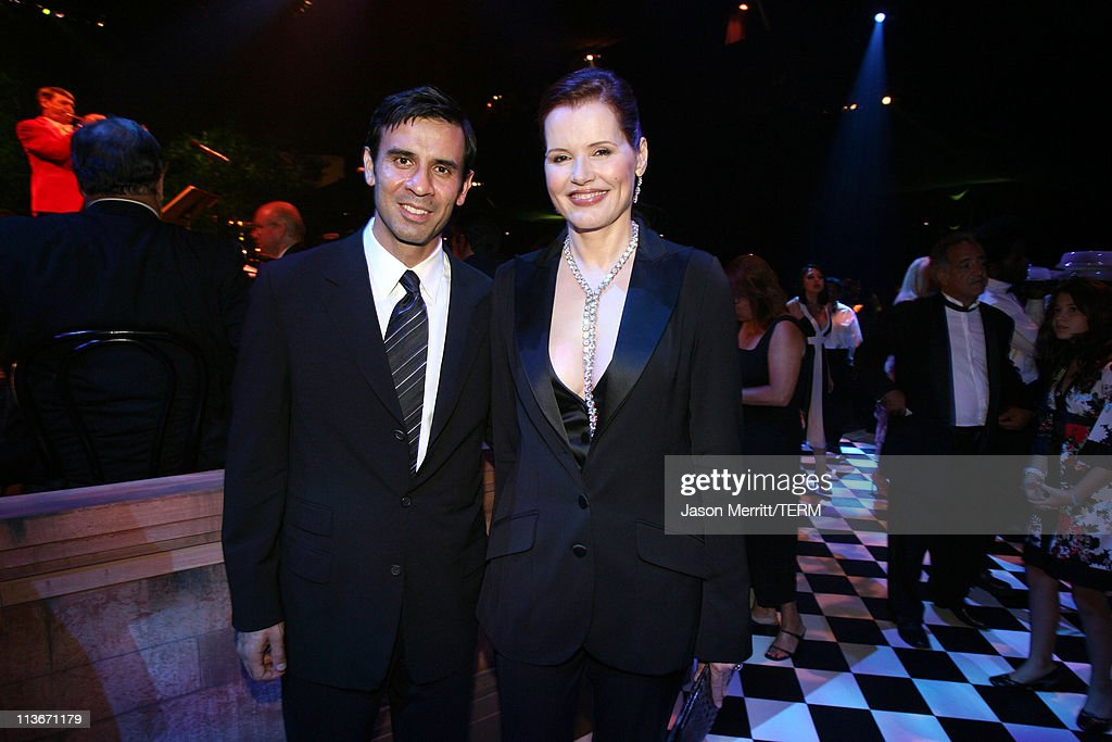 Geena Davis (right) and guest during 58th Annual Primetime Emmy Awards - Governors Ball at The Shrine Auditorium in Los Angeles, California, United States.