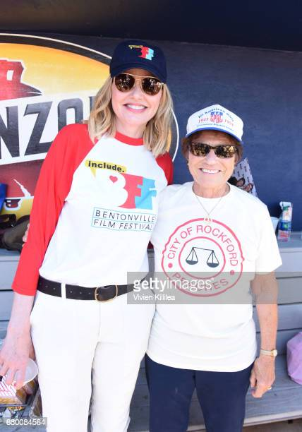 Geena Davis and original baseball player for the Rockford Peaches Suzanne Parsons attends 'A League of Their Own' 25th Anniversary Game at the 3rd...