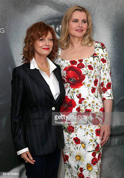 Geena Davis and Susan Sarandon attend a Women in Motion event during The 69th Annual Cannes Film Festival at the Kering Suite on May 15 2016 in...