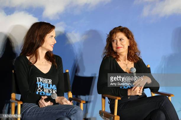 """Geena Davis and Susan Sarandon speak onstage during """"Thelma And Louise"""" 30th Anniversary drive-in charity screening experience hosted by MGM and..."""