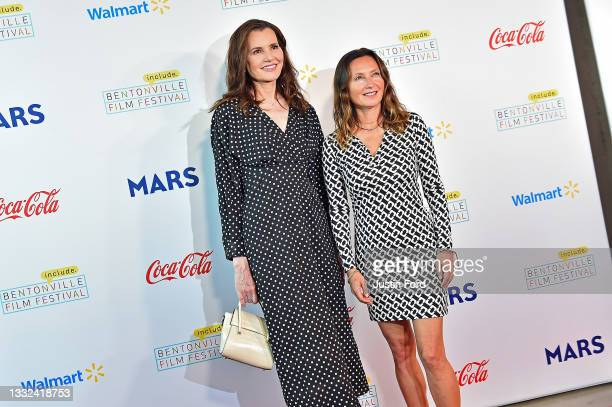 Geena Davis and Wendy Guerrero attend the 2021 Bentonville Film Festival opening night red carpet and filmmaker reception on August 04, 2021 in...