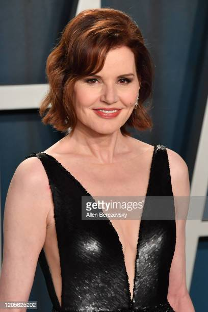 Geena Davis arrives at the 2020 Vanity Fair Oscar Party hosted by Radhika Jones at Wallis Annenberg Center for the Performing Arts on February 09...